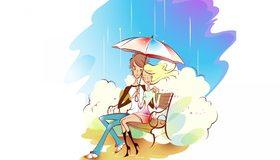 Картинка: Пара, дождик, сидят, ветер, зонтик, скамейка, парк