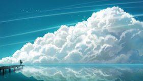 Картинка: Причал, море, небо, облака, девочка, отражение, чайки