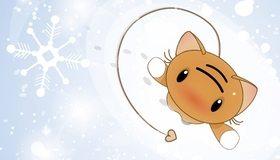 Картинка: Кошка, снег, снежинка, белый, следы, рисунок