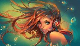 Картинка: Девушка, русалка, наушники, слушает, длинные волосы, вода, пузыри, рисунок