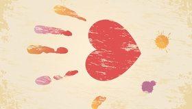 Картинка: Ладонь, сердце, пальцы, солнце, кляксы
