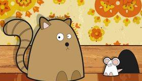 Картинка: Кошка, мышка, норка, рисунок, цветы