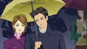 Картинка: Мужчина, девушка, дождь, зонтик, красивые, стиль, пара