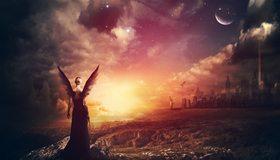 Картинка: Апокалипсис, ангел, крылья, девушка, дым, луна, звёзды, облака, город, разрушение, вспышка