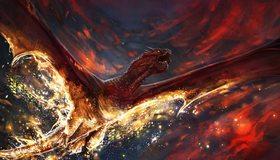 Картинка: Красный, крылатый, дракон, летит, горит, арт, огонь, пламенный