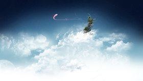 Картинка: Облака, белые, небо, вершина, деревья, линии