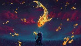 Картинка: Кот, рыбки, золотые, часы, облака, небо, здания
