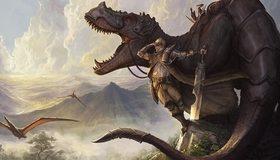 Картинка: Динозавр, пасть, глаз, воитель, доспехи, броня, меч, горы, обрыв