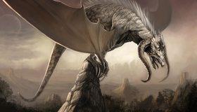Картинка: Дракон, рога, крылья, пасть, скала, пика, гора, когти, хвост