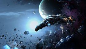 Картинка: Космос, корабль, полёт, камни, астероиды, метеориты, планета, галактика, невесомость