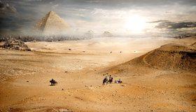 Картинка: Пустыня, Desert, лошади, верюлюды, пески, небо, город, пирамиды, туман, солнце, облака, пейзаж, фантастика, люди