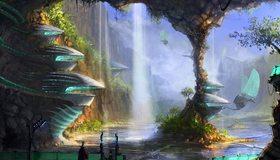 Картинка: Фантастика, арт, крылатая техника, корабли, зелень, озеро, вода, водопад, строения, колонна, люди