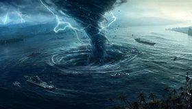 Картинка: Шторм, торнадо, воронка, молнии, корабли, пальмы, вода, море, гроза