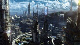 Картинка: Город, здания, мост, дороги, небо, облака