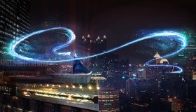 Картинка: Город, высотки, ночь, фонари, огни, волшебство, маг, колдун
