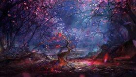 Картинка: Сакура, лес, деревья, ночной свет, листья, пень, ветки, вода