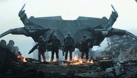 Картинка: Летающий корабль, Земля, спецназ, шлем, броня, оружие, огонь, город, разрушение, руины