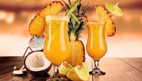 Картинка: Коктейль, напиток, ананас, кокос, дыня, дольки