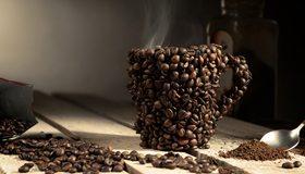 Картинка: Зёрна, кофе, кружка, пар