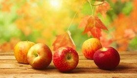Картинка: Яблоки, красные, лежат, листья