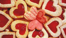 Картинка: Печенье, форма, сердце, желе, сахарная пудра