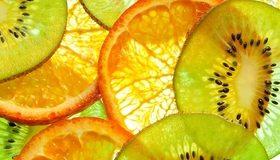 Картинка: Фрукты, кусочки, киви, апельсин, витамины, цитрус