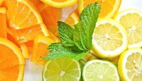 Картинка: Апельсин, лимон, лайм, дольки, цитрус, витамины, мята