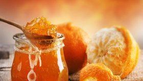 Картинка: Варенье, джем, апельсин, банка, ложка, кожура, оранжевый