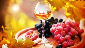 Картинка: Бокал, вино, виноград, лоза, гроздь, бочка, штопор, листья, осень, блики