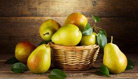 Картинка: Груши, фрукты, витамины, корзинка, листья