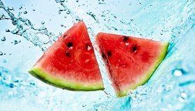 Картинка: Дольки, кусочки, арбуз, красный, капли, вода, брызги