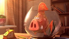 Картинка: Аквариум, рыба, свинья, будильник, шторы, окно, полки, книги