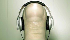 Картинка: Наушники, голова, палец, ноготь, слушает, музыка