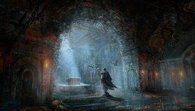 Картинка: Assassins Creed, Brotherhood, Братство крови, Эцио, сундук, арт, арка, свет, летучие мыши