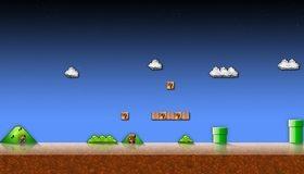 Картинка: Super Mario Bros, игра, Гумба, враг, трубы, канализация, вопросы, облака, Марио, братья