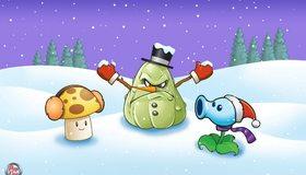 Картинка: Растения против зомби, Plants vs. Zombies, солнечник, кабачок, горохострел, зима, снег, ёлки
