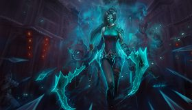 Картинка: League Of Legends, Akali, игра, косы, духи, копья, маги, девушка