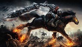 Картинка: Darksiders, Война, всадник, апокалипсис, меч, огромный, конь, лошадь, огонь, поле битвы