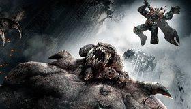 Картинка: Darksiders, Война, монстр, здания, прыжок, меч