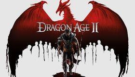 Картинка: Dragon Age 2, дракон, крылья, воин, копьё, белый фон, силуэты