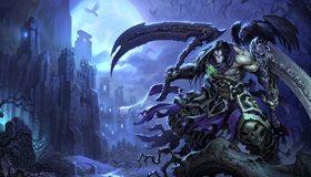 Картинка: Darksiders 2, Смерть, череп, косы, ворон, ветки, замок, луна