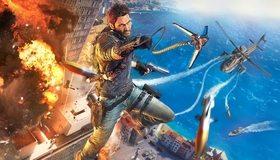 Картинка: Just Cause 3, главный герой, персонаж, мужчина, пистолет, снаряжение, вертолёт, ракеты, взрыв, здания, вода, высота