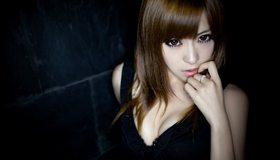 Картинка: Девушка, азиатка, лицо, взгляд, красивые глаза, загадочная, волосы, Rayshen