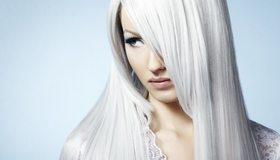 Картинка: Белые волосы, светлая кожа, лицо, макияж, блондинка