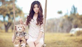 Картинка: Девушка, азиатка, игрушка, мишка, качели