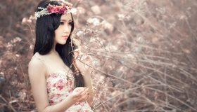 Картинка: Девушка, азиатка, цветы, сухие ветки, позирует, венок, волосы