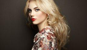 Картинка: Блондинка, стиль, рубашка, макияж, взгляд, девушка, профиль