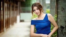 Картинка: Девушка, азиатка, улыбка, настроение, платье, синее, улица
