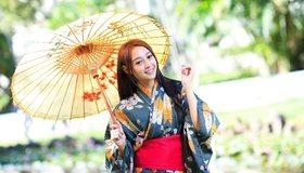 Картинка: Девушка, азиатка, кимоно, зонтик, улыбка