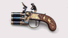 Картинка: Пистолет, антиквариат, дизайн, рисунок, белый фон